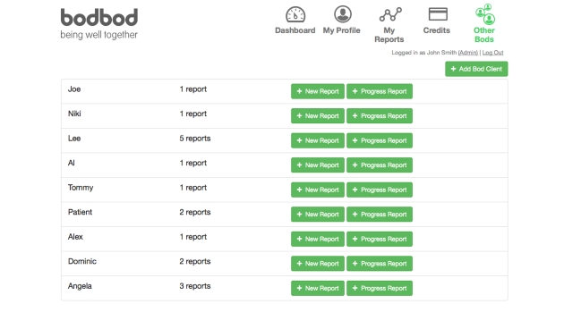 bodbod Health Report Fitness Software Client Reports