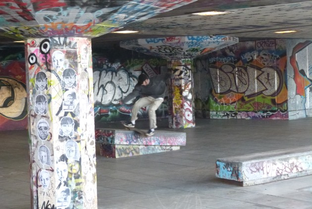 London Southbank Skateboarder River Thames Graffiti