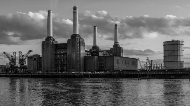 Battersea London power station river thames black and white