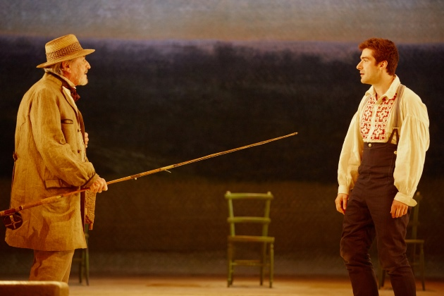 Three Days in the Country John Simm National Theatre On Stage Performing Marber Turgenev fishing rod