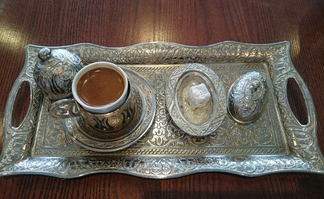 Kilikyas St Katharine Docks London Moussaka Turkish Food Coffee Tray