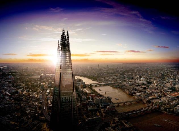 the shard borough dusk aerial landscape london