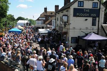 Street scene at Upton Blues Festivals, Upton upon Severn