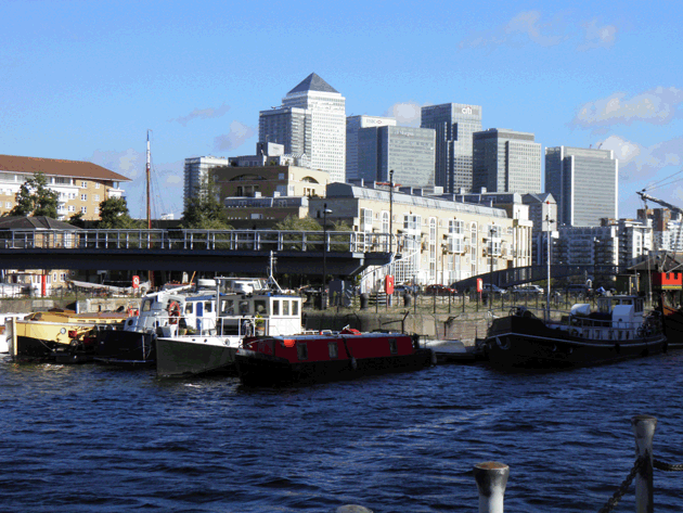 Canary Wharf, just across the river